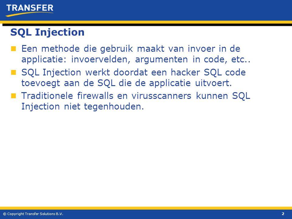 SQL Injection  Een methode die gebruik maakt van invoer in de applicatie: invoervelden, argumenten in code, etc..  SQL Injection werkt doordat een h