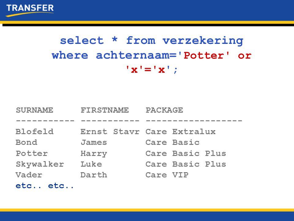 SQL injection detectie  Er is software om SQL Injection in webapplicaties te detecteren.