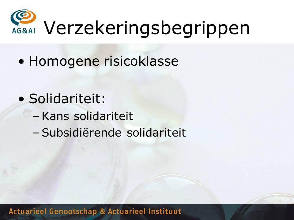 Verzekeringsbegrippen •Homogene risicoklasse •Solidariteit: –Kans solidariteit –Subsidiërende solidariteit
