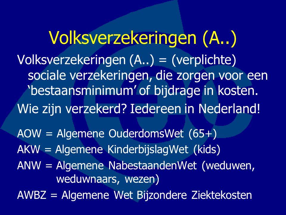 Volksverzekeringen (A..) Volksverzekeringen (A..) = (verplichte) sociale verzekeringen, die zorgen voor een 'bestaansminimum' of bijdrage in kosten.