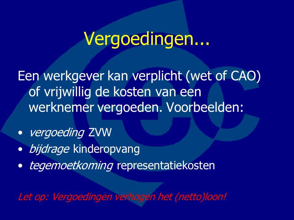 Vergoedingen... Een werkgever kan verplicht (wet of CAO) of vrijwillig de kosten van een werknemer vergoeden. Voorbeelden: •vergoeding ZVW •bijdrage k