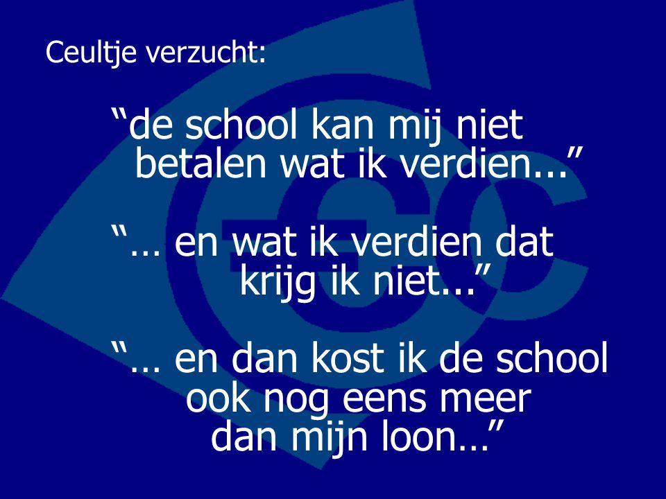 Ceultje verzucht: de school kan mij niet betalen wat ik verdien... … en wat ik verdien dat krijg ik niet... … en dan kost ik de school ook nog eens meer dan mijn loon…