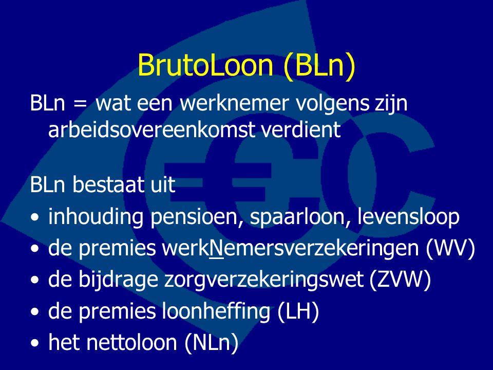 BrutoLoon (BLn) BLn = wat een werknemer volgens zijn arbeidsovereenkomst verdient BLn bestaat uit •inhouding pensioen, spaarloon, levensloop •de premies werkNemersverzekeringen (WV) •de bijdrage zorgverzekeringswet (ZVW) •de premies loonheffing (LH) •het nettoloon (NLn)