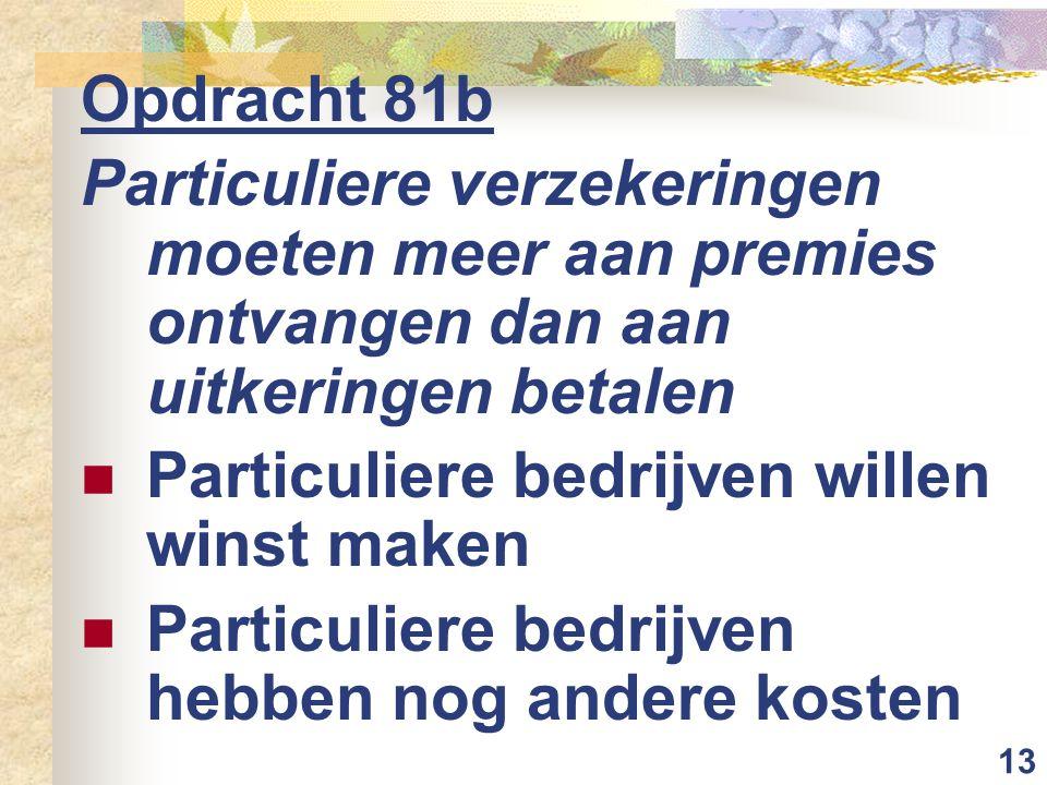 13 Opdracht 81b Particuliere verzekeringen moeten meer aan premies ontvangen dan aan uitkeringen betalen  Particuliere bedrijven willen winst maken 