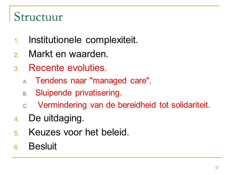 17 Structuur 1.Institutionele complexiteit. 2. Markt en waarden.