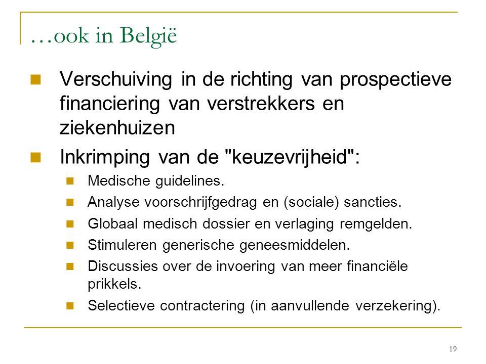 19 …ook in België  Verschuiving in de richting van prospectieve financiering van verstrekkers en ziekenhuizen  Inkrimping van de keuzevrijheid :  Medische guidelines.