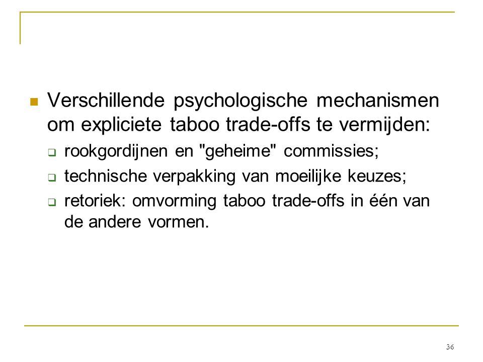 36  Verschillende psychologische mechanismen om expliciete taboo trade-offs te vermijden:  rookgordijnen en geheime commissies;  technische verpakking van moeilijke keuzes;  retoriek: omvorming taboo trade-offs in één van de andere vormen.