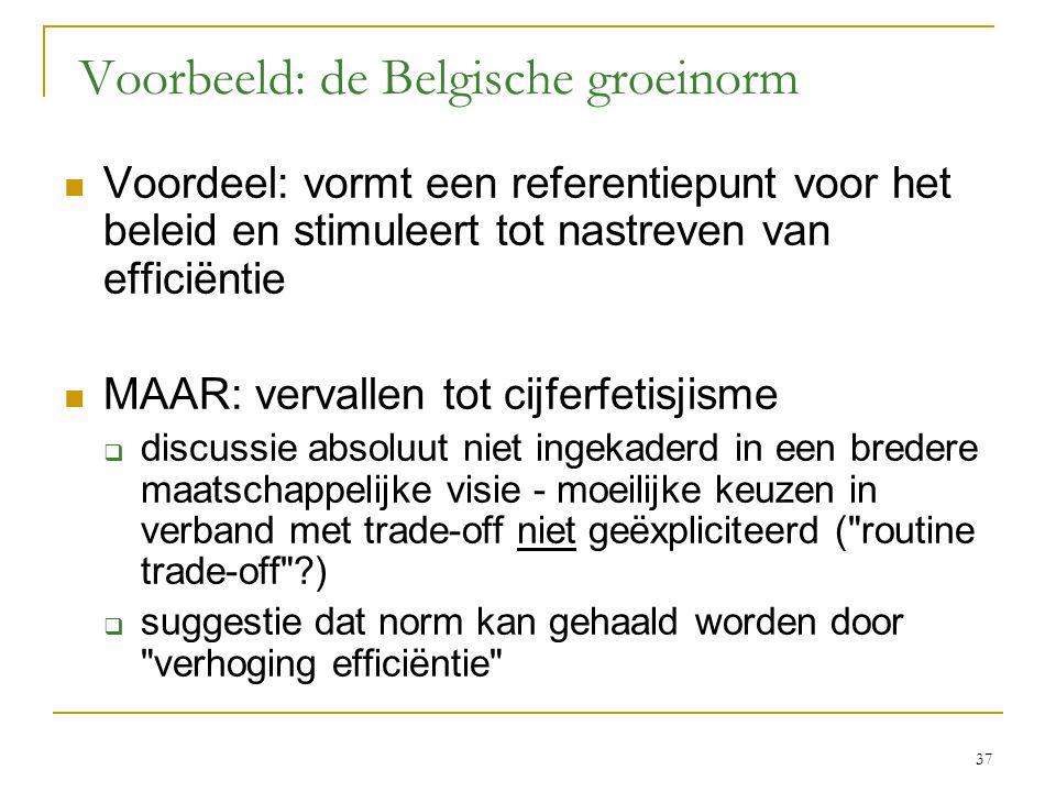 37 Voorbeeld: de Belgische groeinorm  Voordeel: vormt een referentiepunt voor het beleid en stimuleert tot nastreven van efficiëntie  MAAR: vervallen tot cijferfetisjisme  discussie absoluut niet ingekaderd in een bredere maatschappelijke visie - moeilijke keuzen in verband met trade-off niet geëxpliciteerd ( routine trade-off ?)  suggestie dat norm kan gehaald worden door verhoging efficiëntie