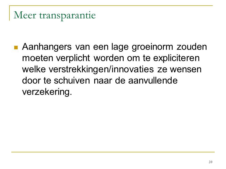 39 Meer transparantie  Aanhangers van een lage groeinorm zouden moeten verplicht worden om te expliciteren welke verstrekkingen/innovaties ze wensen door te schuiven naar de aanvullende verzekering.