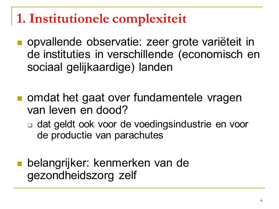 4 1. Institutionele complexiteit  opvallende observatie: zeer grote variëteit in de instituties in verschillende (economisch en sociaal gelijkaardige