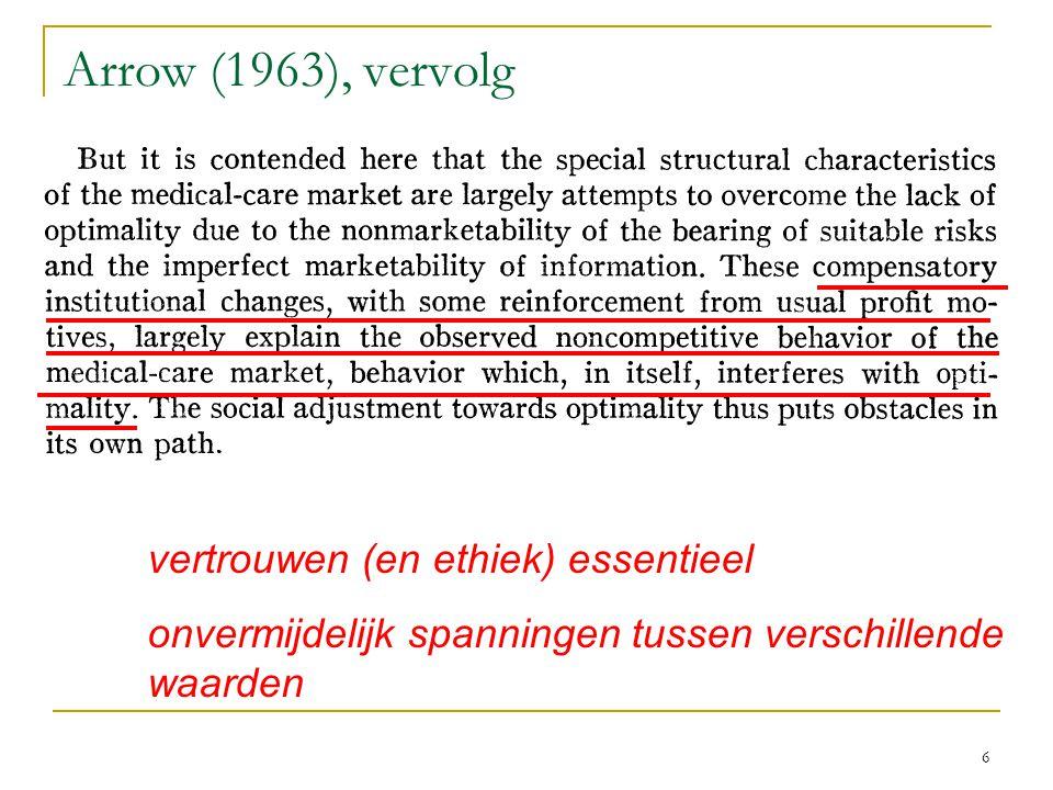 6 Arrow (1963), vervolg vertrouwen (en ethiek) essentieel onvermijdelijk spanningen tussen verschillende waarden