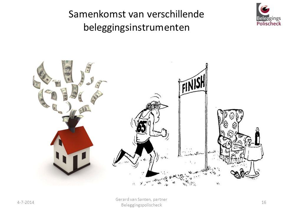 Samenkomst van verschillende beleggingsinstrumenten 4-7-201416 Gerard van Santen, partner Beleggingspolischeck