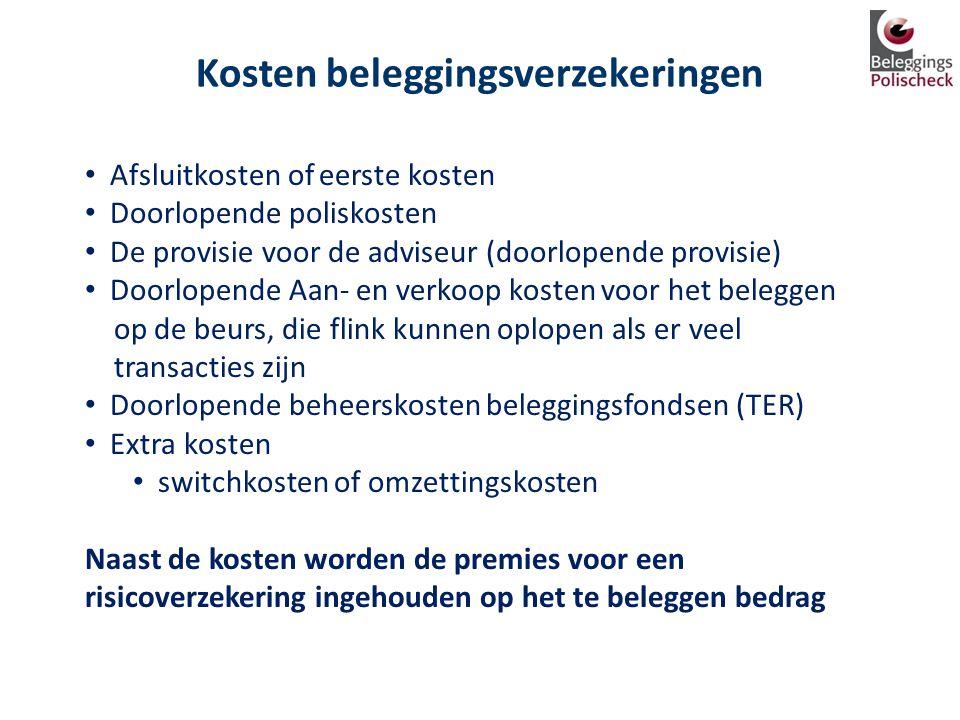 Kosten beleggingsverzekeringen • Afsluitkosten of eerste kosten • Doorlopende poliskosten • De provisie voor de adviseur (doorlopende provisie) • Door