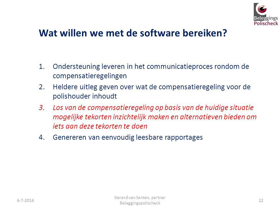 Wat willen we met de software bereiken? 1.Ondersteuning leveren in het communicatieproces rondom de compensatieregelingen 2.Heldere uitleg geven over