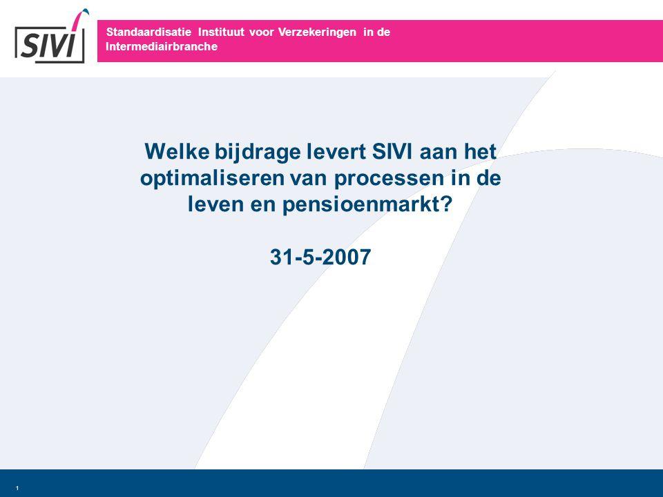 Standaardisatie Instituut voor Verzekeringen in de Intermediairbranche 1 Welke bijdrage levert SIVI aan het optimaliseren van processen in de leven en