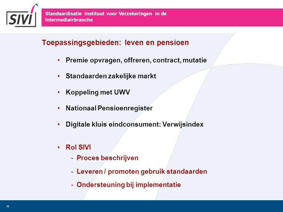Standaardisatie Instituut voor Verzekeringen in de Intermediairbranche 18 Toepassingsgebieden: leven en pensioen • Premie opvragen, offreren, contract