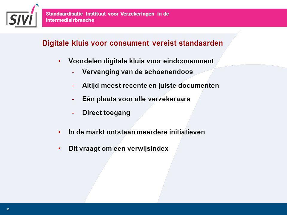 Standaardisatie Instituut voor Verzekeringen in de Intermediairbranche 28 Digitale kluis voor consument vereist standaarden • Voordelen digitale kluis