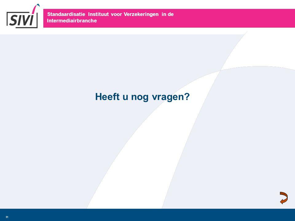 Standaardisatie Instituut voor Verzekeringen in de Intermediairbranche 31 Heeft u nog vragen?