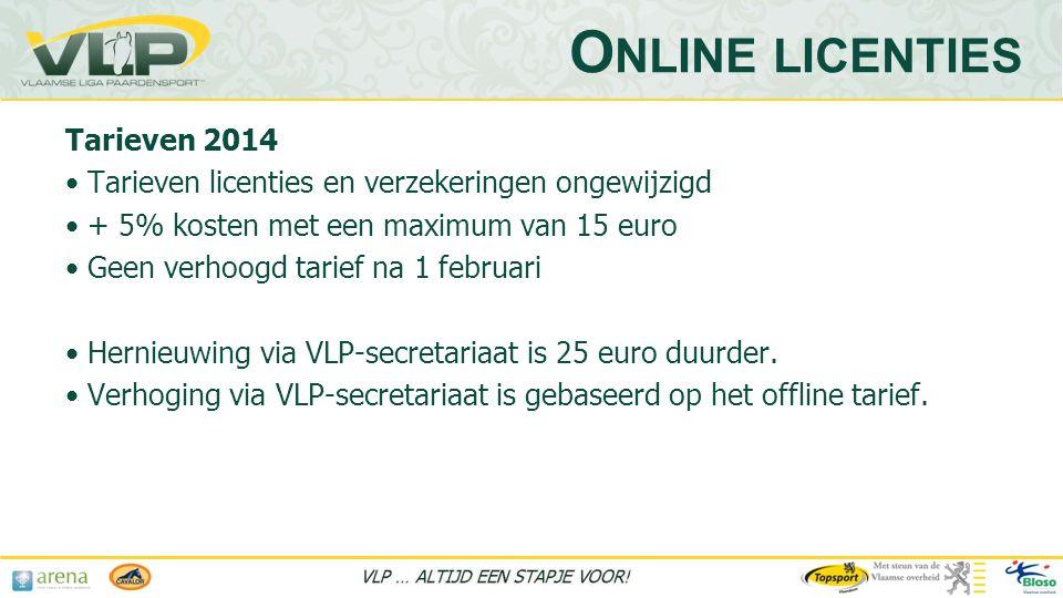 Tarieven 2014 • Tarieven licenties en verzekeringen ongewijzigd • + 5% kosten met een maximum van 15 euro • Geen verhoogd tarief na 1 februari • Hernieuwing via VLP-secretariaat is 25 euro duurder.