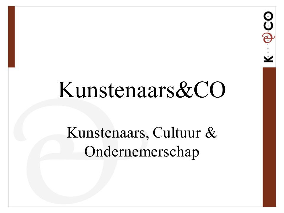 Doel Kunstenaars&CO Ondersteunen van de opbouw van een renderende beroepspraktijk van kunstenaars: 1.