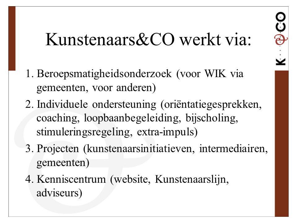 Kunstenaars&CO werkt via: 1. Beroepsmatigheidsonderzoek (voor WIK via gemeenten, voor anderen) 2. Individuele ondersteuning (oriëntatiegesprekken, coa