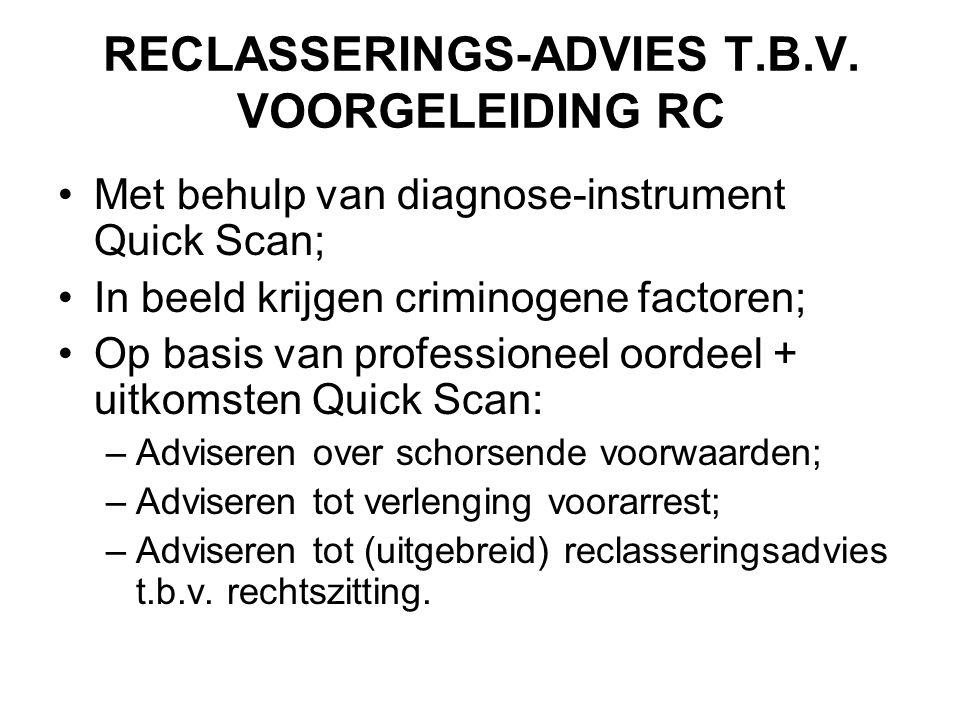RECLASSERINGS-ADVIES T.B.V. VOORGELEIDING RC •Met behulp van diagnose-instrument Quick Scan; •In beeld krijgen criminogene factoren; •Op basis van pro