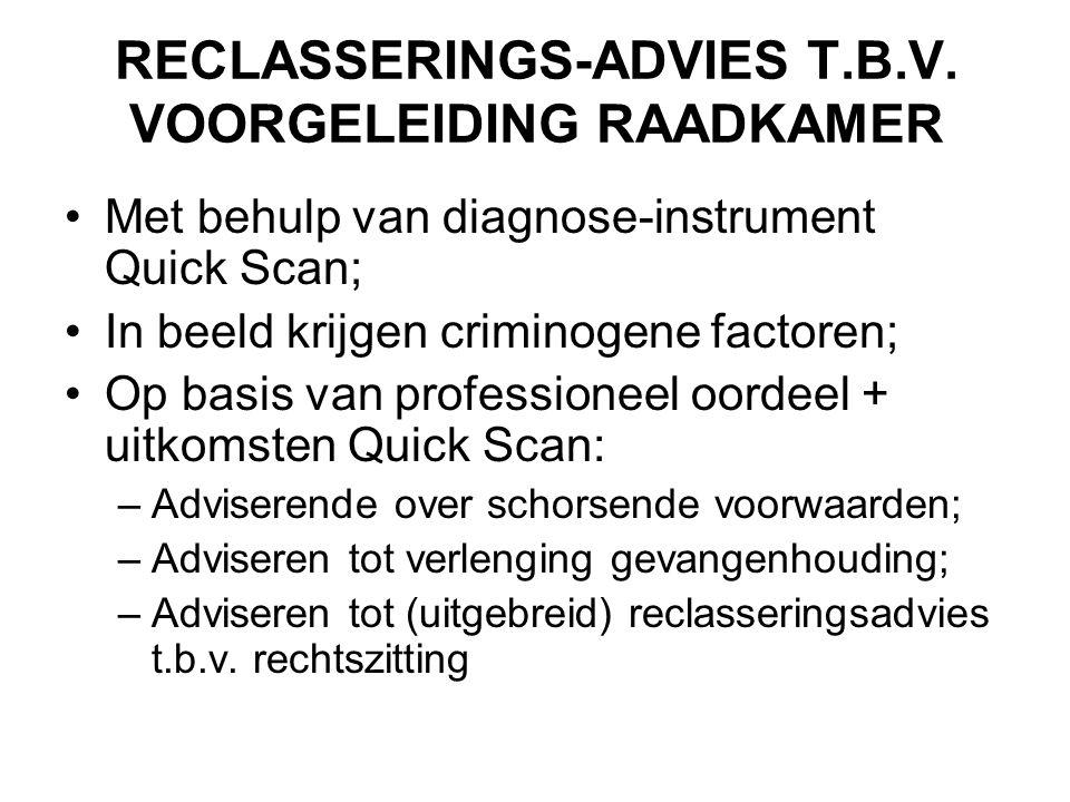 RECLASSERINGS-ADVIES T.B.V. VOORGELEIDING RAADKAMER •Met behulp van diagnose-instrument Quick Scan; •In beeld krijgen criminogene factoren; •Op basis