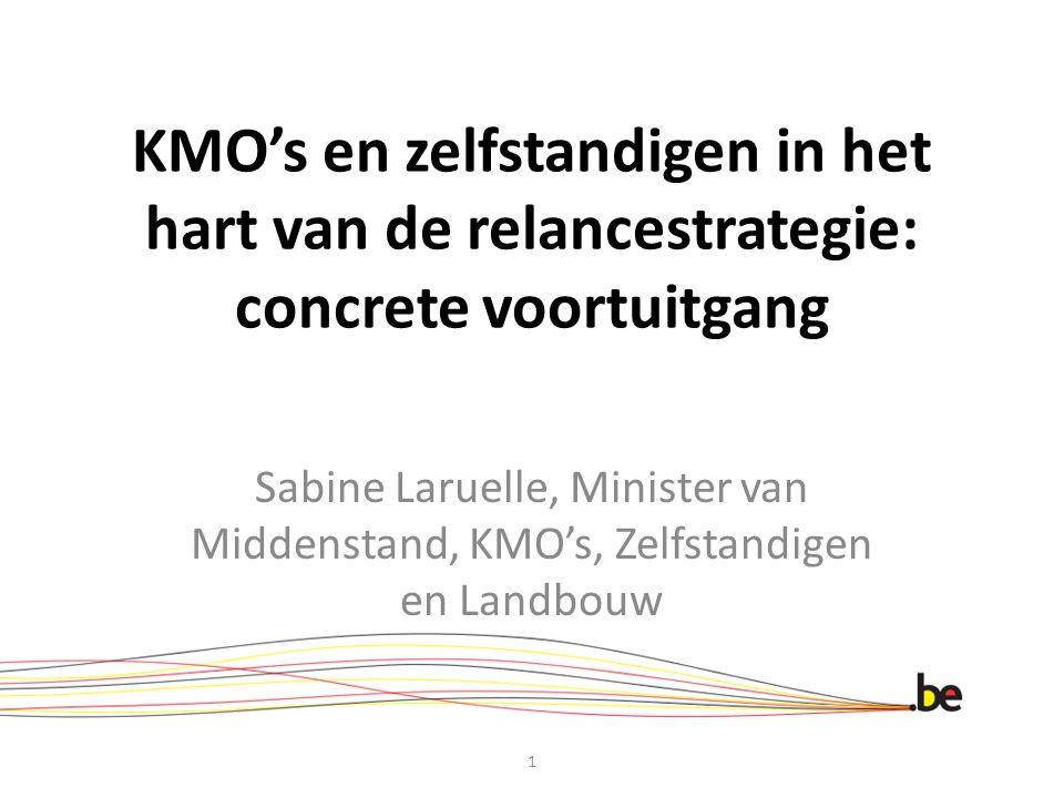 KMO's en zelfstandigen in het hart van de relancestrategie: concrete voortuitgang Sabine Laruelle, Minister van Middenstand, KMO's, Zelfstandigen en Landbouw 1