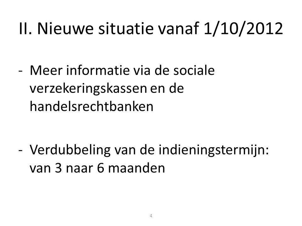 II. Nieuwe situatie vanaf 1/10/2012 -Meer informatie via de sociale verzekeringskassen en de handelsrechtbanken -Verdubbeling van de indieningstermijn