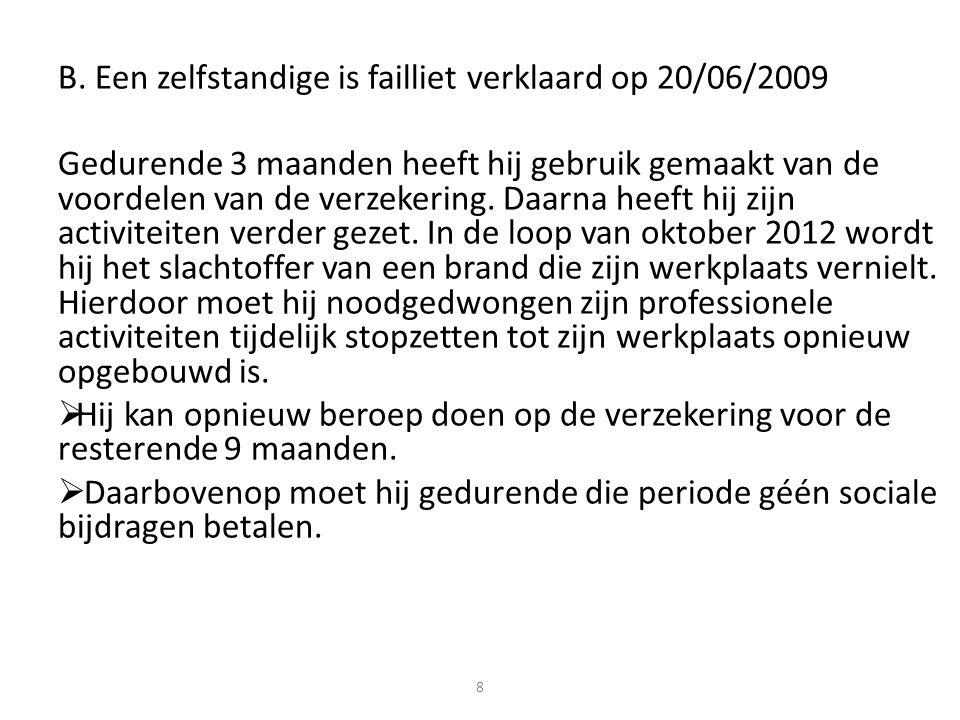 B. Een zelfstandige is failliet verklaard op 20/06/2009 Gedurende 3 maanden heeft hij gebruik gemaakt van de voordelen van de verzekering. Daarna heef