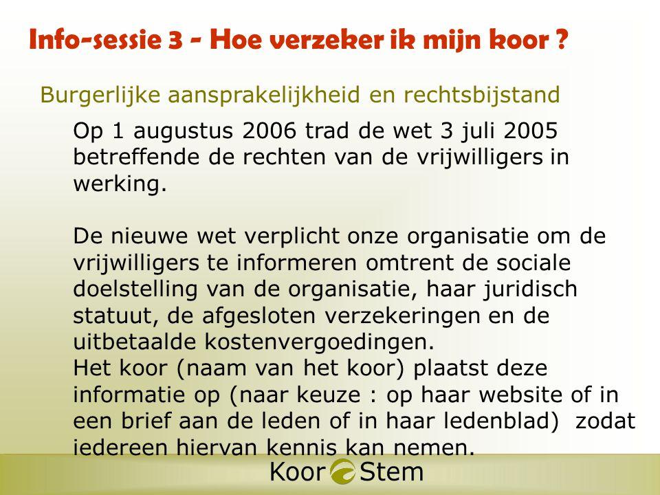 Structuur AntwerpenW-Vlaanderen O-Vlaanderen Limburg Vl-Brabant 830 aangesloten koren 30.000 zangers provinciale afdelingen nationaal secretariaat Antwerpen K&S Leuven & K&S Gent