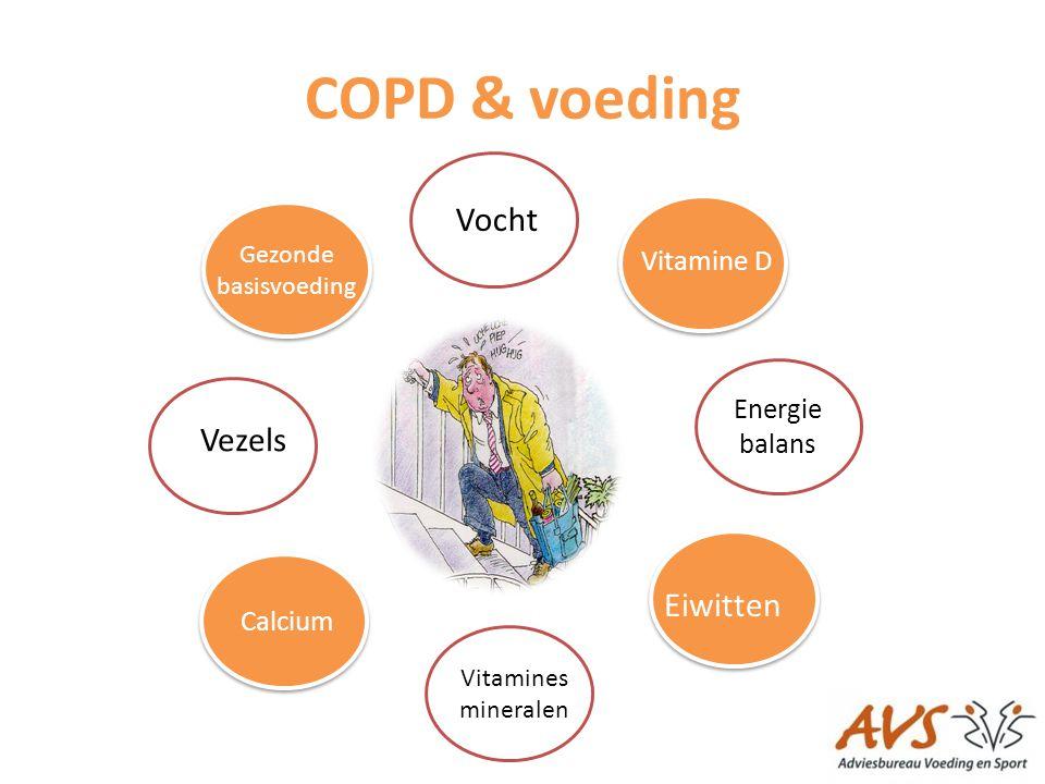 COPD & voeding Vezels Gezonde basisvoeding Vocht Vitamine D Energie balans Vitamines mineralen Eiwitten Calcium