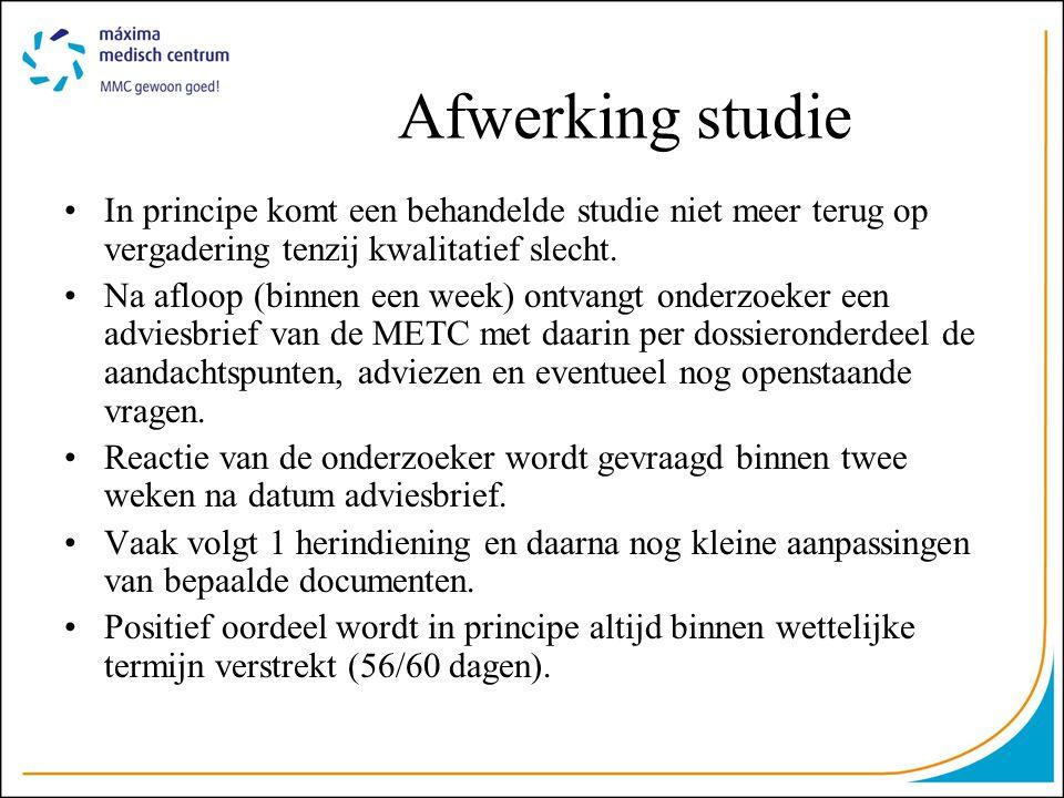 Afwerking studie •In principe komt een behandelde studie niet meer terug op vergadering tenzij kwalitatief slecht. •Na afloop (binnen een week) ontvan