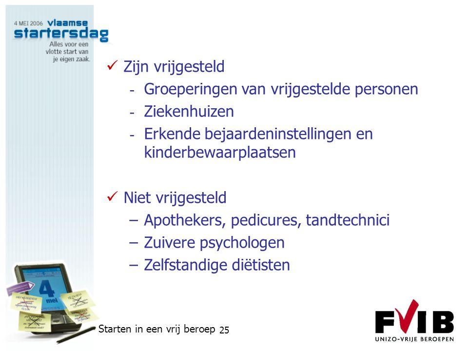 Starten in een vrij beroep 25  Zijn vrijgesteld - Groeperingen van vrijgestelde personen - Ziekenhuizen - Erkende bejaardeninstellingen en kinderbewa