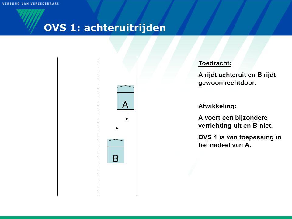 OVS 1: achteruitrijden A B Toedracht: A rijdt achteruit en B rijdt gewoon rechtdoor. Afwikkeling: A voert een bijzondere verrichting uit en B niet. OV