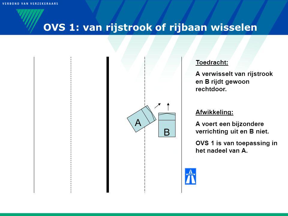 OVS 1: van rijstrook of rijbaan wisselen A B Toedracht: A verwisselt van rijstrook en B rijdt gewoon rechtdoor. Afwikkeling: A voert een bijzondere ve