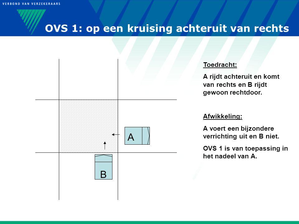 OVS 1: op een kruising achteruit van rechts B A Toedracht: A rijdt achteruit en komt van rechts en B rijdt gewoon rechtdoor. Afwikkeling: A voert een
