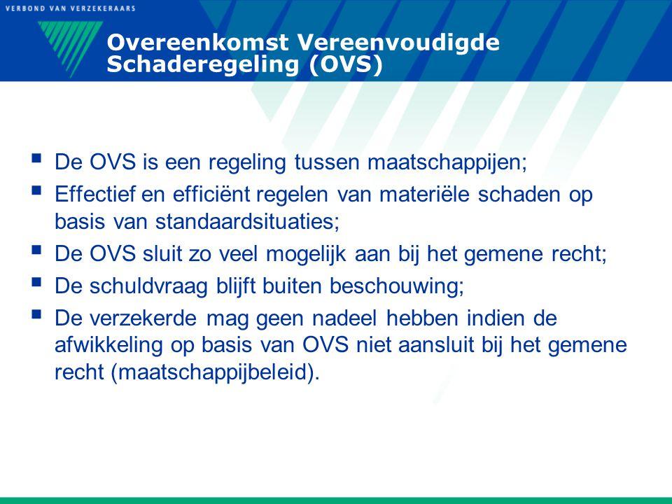 Overeenkomst Vereenvoudigde Schaderegeling (OVS)  De OVS is een regeling tussen maatschappijen;  Effectief en efficiënt regelen van materiële schade