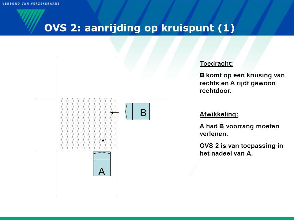 OVS 2: aanrijding op kruispunt (1) A B Toedracht: B komt op een kruising van rechts en A rijdt gewoon rechtdoor. Afwikkeling: A had B voorrang moeten