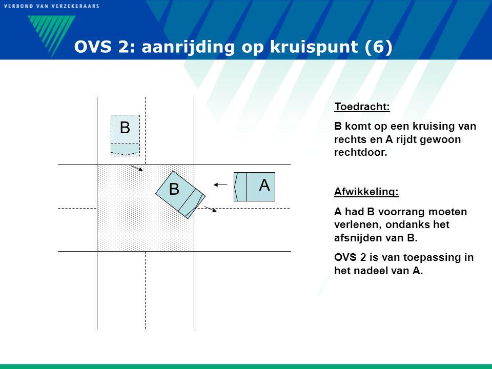 OVS 2: aanrijding op kruispunt (6) B B A Toedracht: B komt op een kruising van rechts en A rijdt gewoon rechtdoor. Afwikkeling: A had B voorrang moete