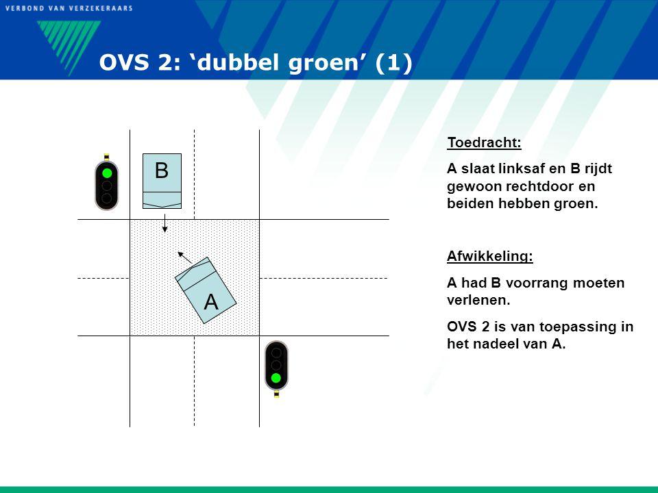 OVS 2: 'dubbel groen' (1) A B Toedracht: A slaat linksaf en B rijdt gewoon rechtdoor en beiden hebben groen. Afwikkeling: A had B voorrang moeten verl