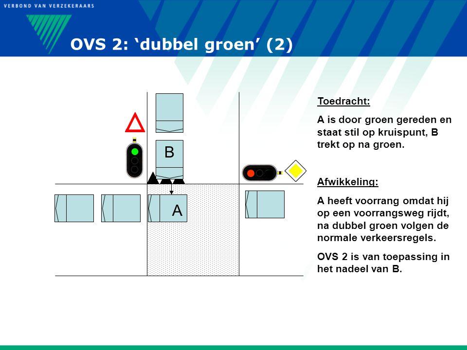 OVS 2: 'dubbel groen' (2) Toedracht: A is door groen gereden en staat stil op kruispunt, B trekt op na groen. Afwikkeling: A heeft voorrang omdat hij