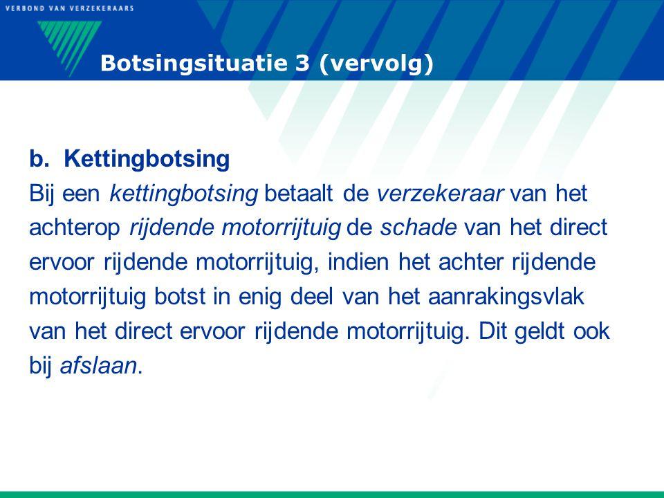 Botsingsituatie 3 (vervolg) b. Kettingbotsing Bij een kettingbotsing betaalt de verzekeraar van het achterop rijdende motorrijtuig de schade van het d