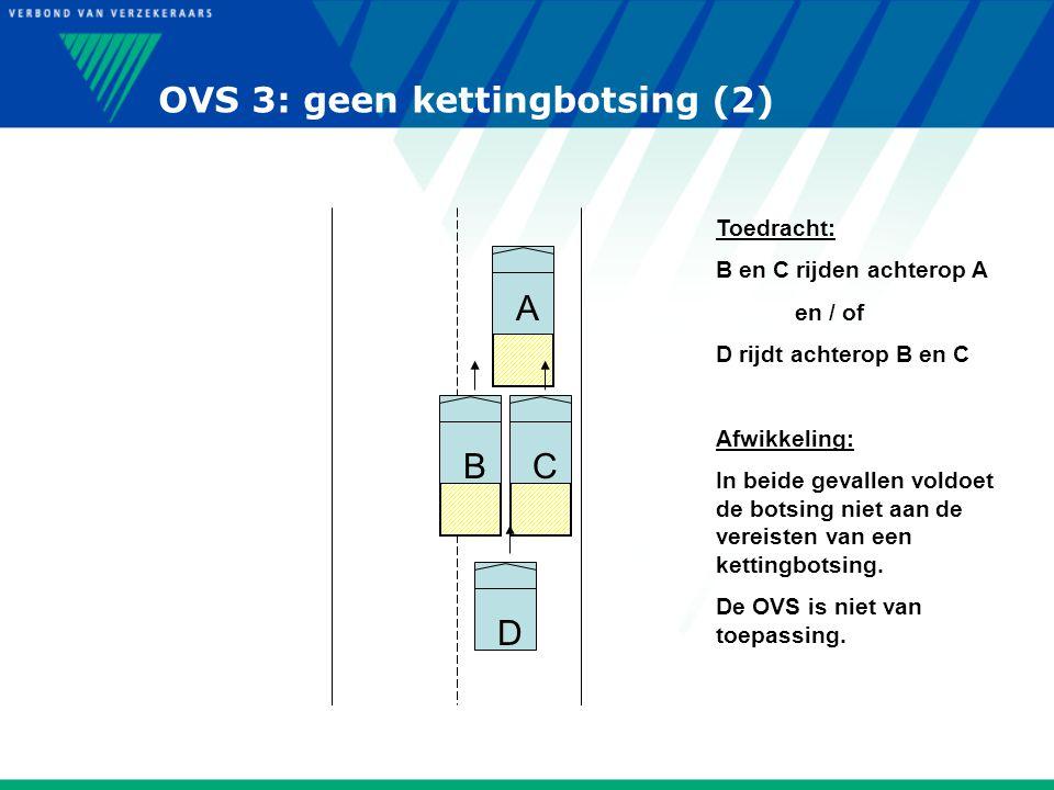 OVS 3: geen kettingbotsing (2) A CBD Toedracht: B en C rijden achterop A en / of D rijdt achterop B en C Afwikkeling: In beide gevallen voldoet de bot
