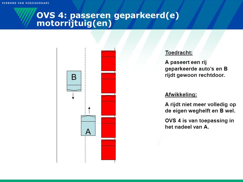 OVS 4: passeren geparkeerd(e) motorrijtuig(en) A B Toedracht: A paseert een rij geparkeerde auto's en B rijdt gewoon rechtdoor. Afwikkeling: A rijdt n