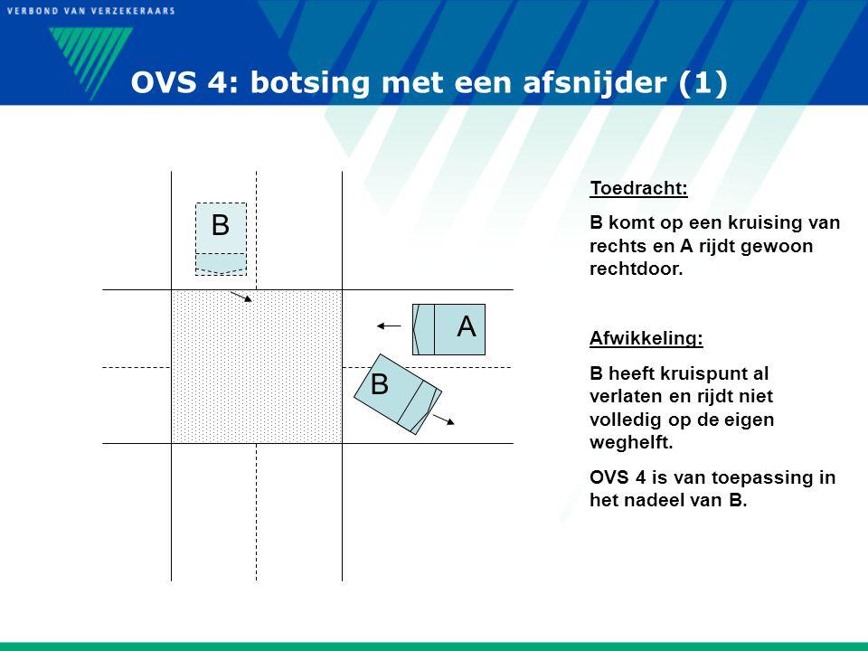 OVS 4: botsing met een afsnijder (1) B B A Toedracht: B komt op een kruising van rechts en A rijdt gewoon rechtdoor. Afwikkeling: B heeft kruispunt al