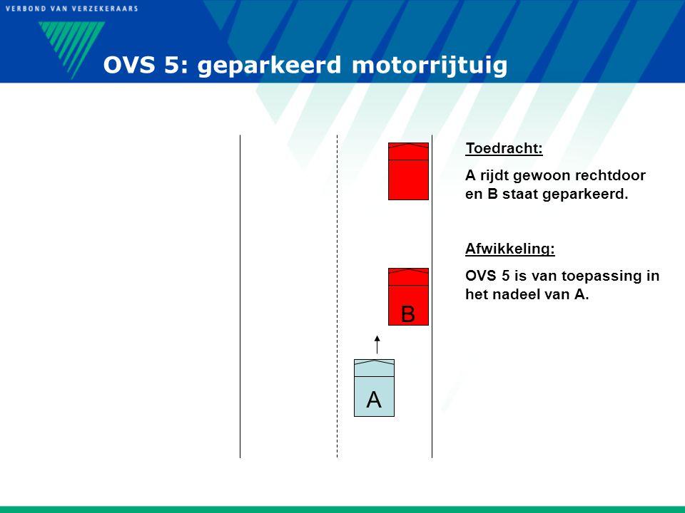 OVS 5: geparkeerd motorrijtuig A B Toedracht: A rijdt gewoon rechtdoor en B staat geparkeerd. Afwikkeling: OVS 5 is van toepassing in het nadeel van A
