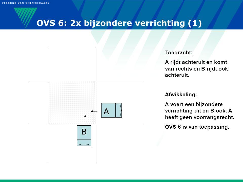OVS 6: 2x bijzondere verrichting (1) B A Toedracht: A rijdt achteruit en komt van rechts en B rijdt ook achteruit. Afwikkeling: A voert een bijzondere