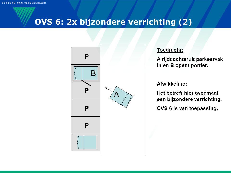 P P P P P P OVS 6: 2x bijzondere verrichting (2) Toedracht: A rijdt achteruit parkeervak in en B opent portier. Afwikkeling: Het betreft hier tweemaal