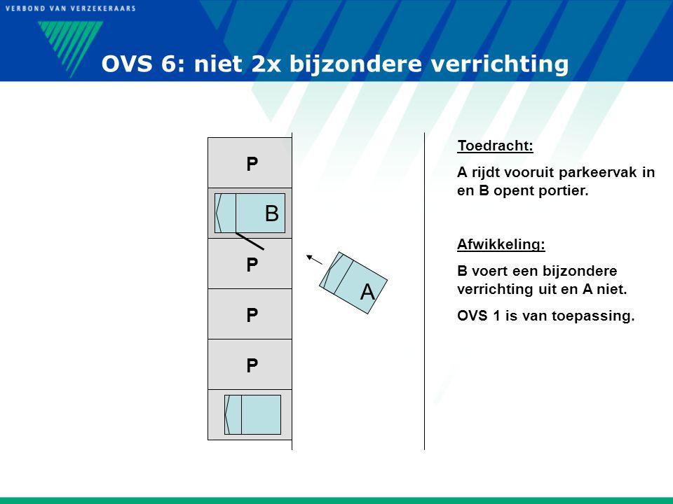 P P P P P P Toedracht: A rijdt vooruit parkeervak in en B opent portier. Afwikkeling: B voert een bijzondere verrichting uit en A niet. OVS 1 is van t